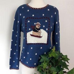 Christopher & Banks Sledding Teddy Bear Sweater S